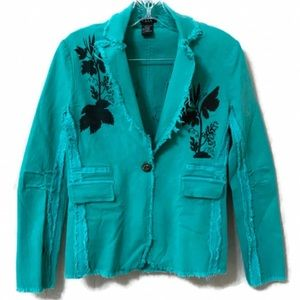 Boho Style Frayed Hem Leaf Print Light Jacket